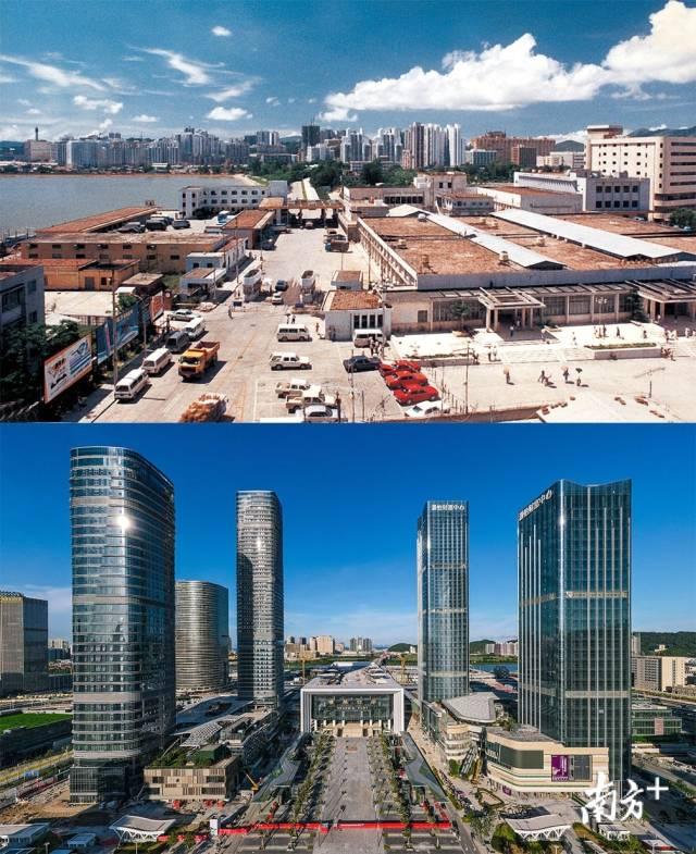 上图:上世纪80年代的拱北口岸原联检楼;下图:2020年,珠海横琴口岸新大楼拔地而起并投入使用