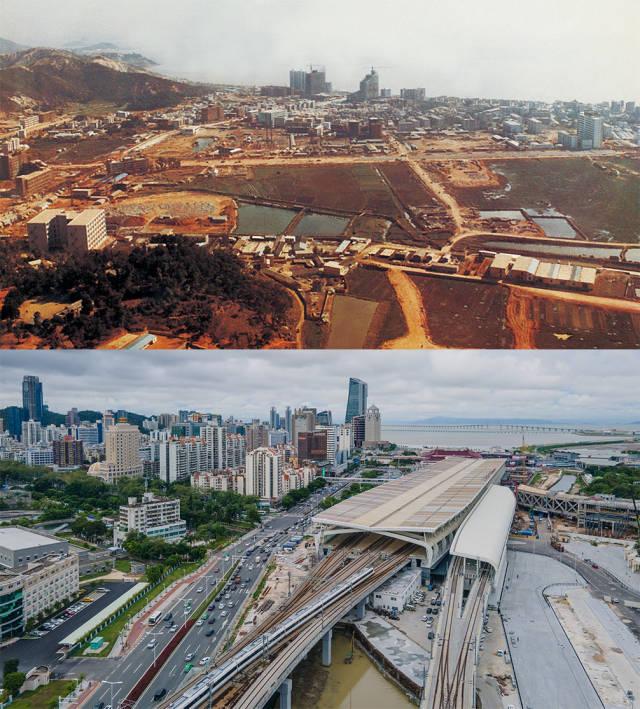 上图:1984年正在建设中的拱北区。洪汉波 摄;下图:2020年,城轨正在驶出拱北珠海站