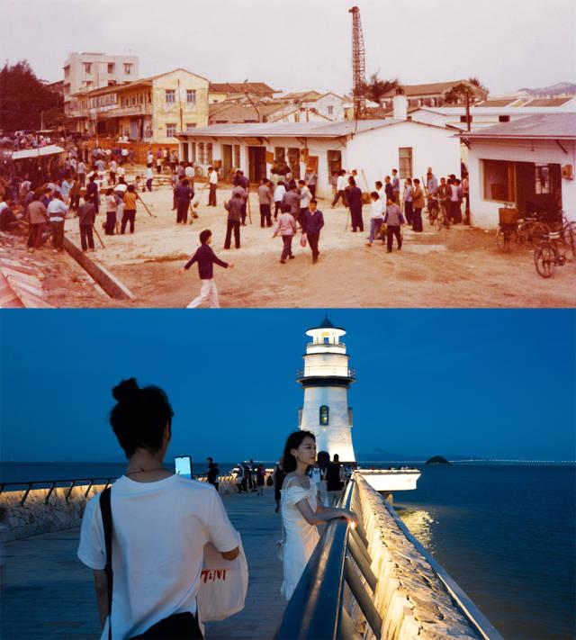 上图:1981年,香洲城区旧貌;下图:2020年,香洲情侣路边的爱情灯塔,成为市民游客游玩的热门景点