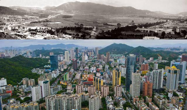 上图:1983年,吉大旧貌。孔庆宪 摄;下图:2020年,珠海香洲区吉大商业圈,曾经的平房如今高楼林立