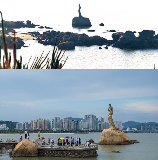 上图:1985年的珠海渔女;下图:2020年,珠海渔女雕像前游客络绎不绝