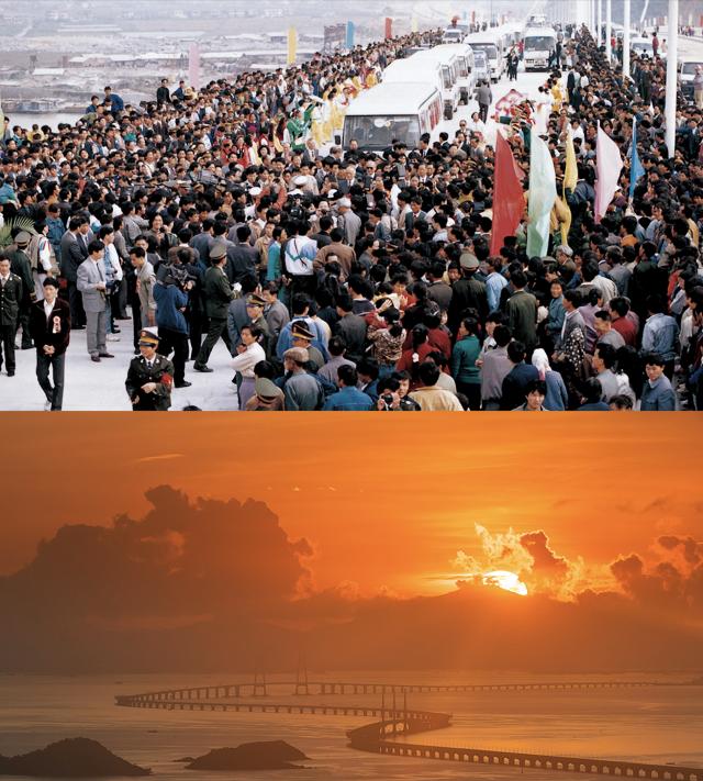 上图:1993年11月,珠海大桥通车;下图:2020年,港珠澳大桥日出。港珠澳大桥的建成使得粤港澳三地联系更加紧密