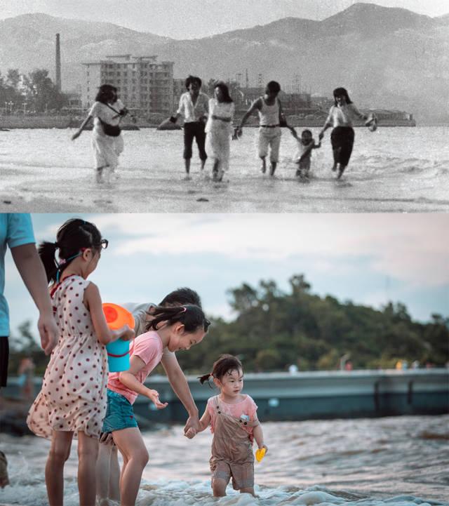 上图:1985年位于香洲湾海霞新村的外侧是海滩;下图:2020年,情侣路沿岸的海滩上,大人和孩子正在海水里玩耍