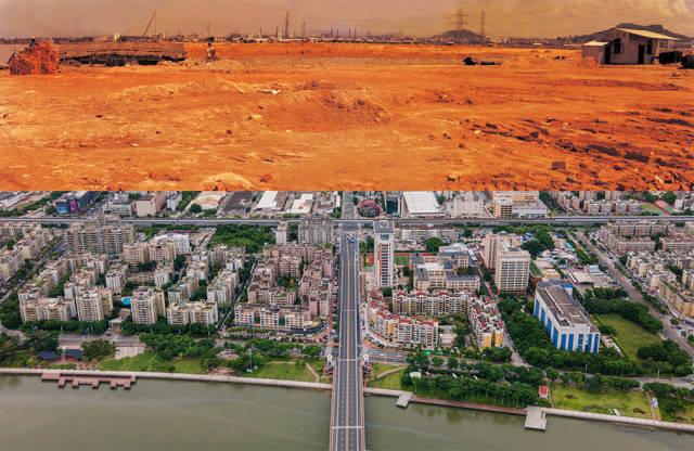 上图:1988年,拱北夏湾正在平整土地;下图:2020年,珠海市夏湾