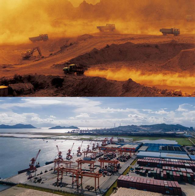 上图:1990年,珠海港在建设中;下图:2020年,珠海市高栏港经济区承载着特区货运枢纽的重担