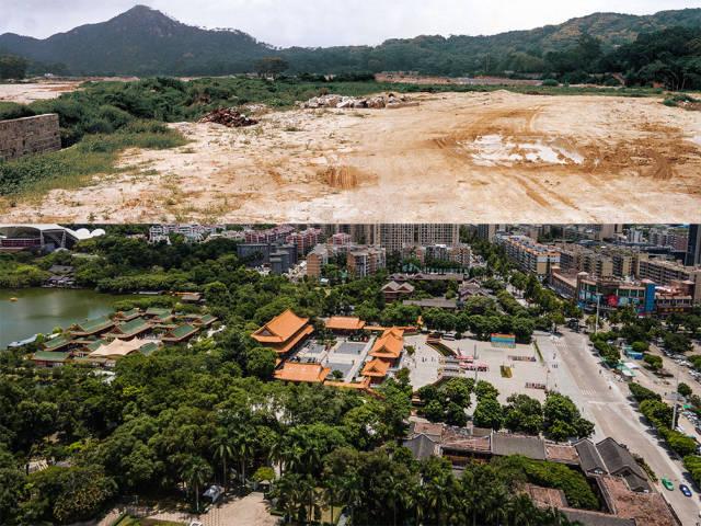 上图:1991年,圆明新园原址;下图:2020年,香洲区圆明新园如今被一栋栋崭新的现代楼房包围