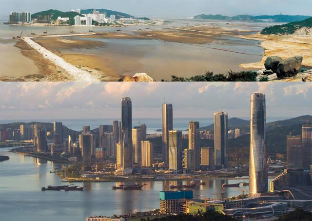 上图:1992年,横琴岛十字门围海造地;下图:2020年,珠海横琴新区的建设正如火如荼进行中
