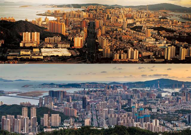 上图:上世纪90年代初,珠海和澳门夕照锦辉;下图:2020年,板樟山俯瞰珠海和澳门