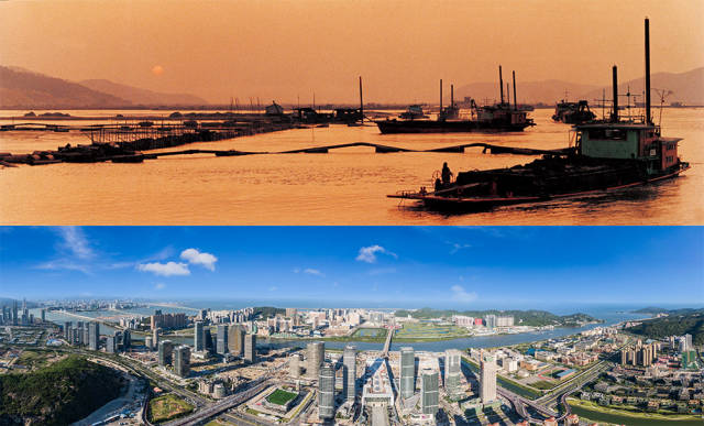 上图:1992年,横琴岛经过科学论证与规划,开始大规模围海造地;下图:2020年,珠海横琴新区全貌