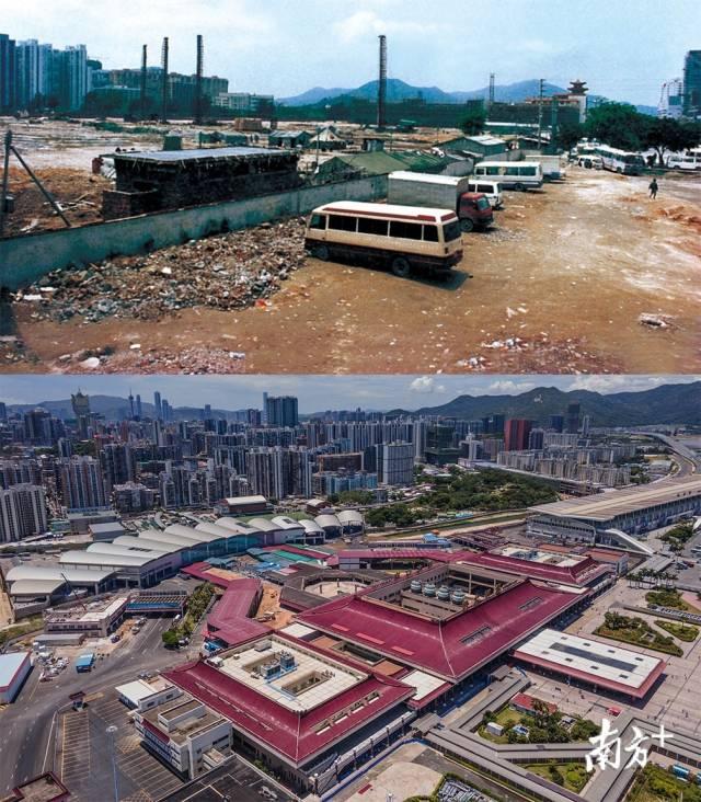 上图: 1991年拱北口岸广场原貌;下图:2020年,拱北口岸仍是两地交流的大门