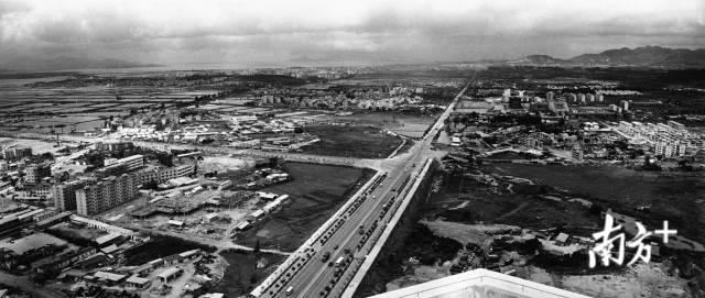 1987年,深圳市中心区原貌。图中左为福田村、岗厦村;右为中心公园、莲花山公园和田面村。