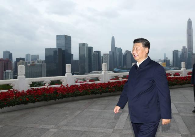 10月14日下午,习近平在莲花山公园远眺特区新貌。新华社记者 鞠鹏 摄