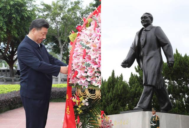 10月14日下午,习近平来到莲花山公园,向邓小平同志铜像敬献花篮。新华社记者 王晔 摄